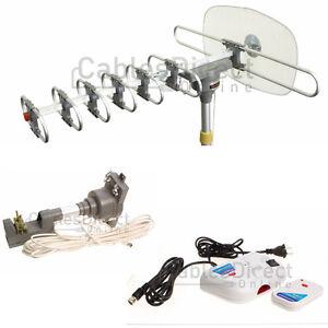 150 Mile Hdtv 1080p Outdoor Amplified Antenna 360 Rotor Digital Uhf Vhf Fm Hd Tv