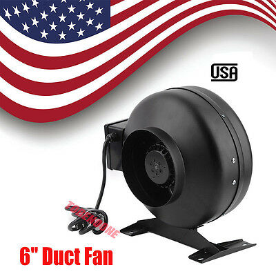6 Inch Inline Duct Fan Blower High Cfm Cool Vent Exhaust With Bracket Us To