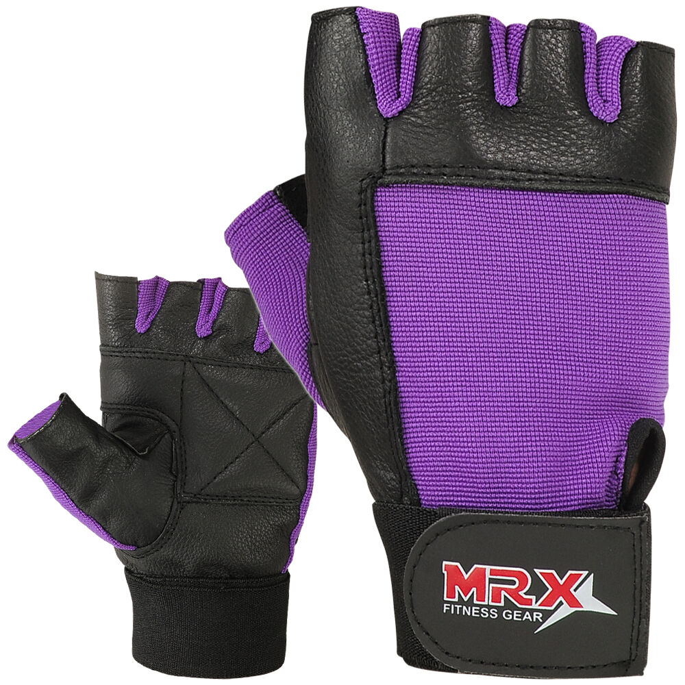 Womens leather gloves purple - Women S Weight Lifting Gloves Leather Fitness Gym Training Glove Purple Black