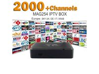 IPTV MAG 254 EUROPE ARAB INDIA 1 YEAR SERVICE 2000 + CHANNELS FULL HD / TV BOX / 100% BEST STREAMS
