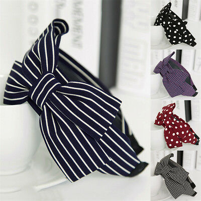 Schöne Mädchen süßen Groß Ribbon Bow Rutschfeste Breite Haarband Stirnband Ribbon Bow Stirnband