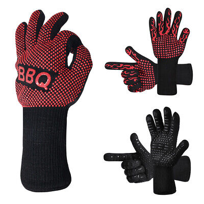 BBQ Grill Cooking Glove Heat Resistant Oven Gloves Silicone Kitchen Baking -