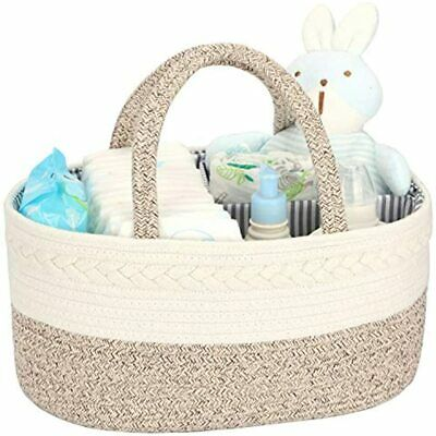 Diaper Caddy Organizer For Baby - 100% Cotton Rope Basket Changing Table Storage