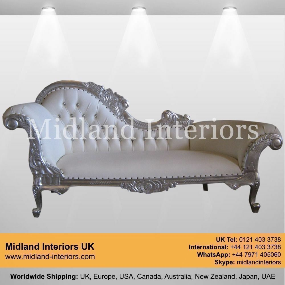NEW Paris Chaise Longue French Sofa - Silver & White - Luxury Asian on chaise sofa sleeper, chaise recliner chair, chaise furniture,