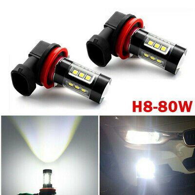 2pcs H11 Car LED Fog Lights 80W Headlight Bulb Driving Lamp DRL 6000K HID White