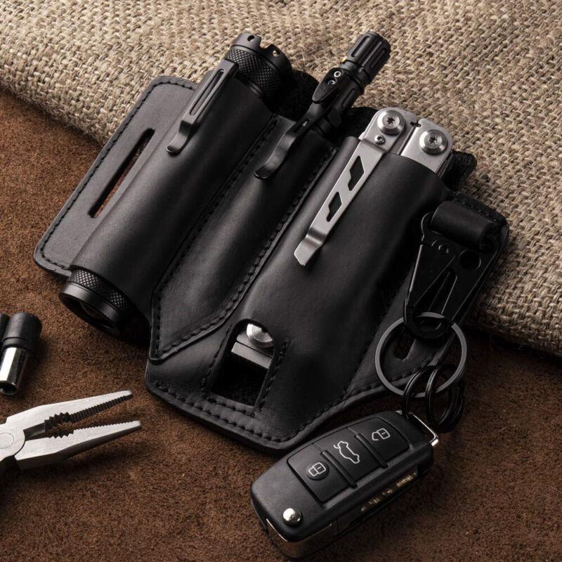 New Multitool Genuine Leather Sheath EDC Pocket Organizer Flashlight Tool Holder
