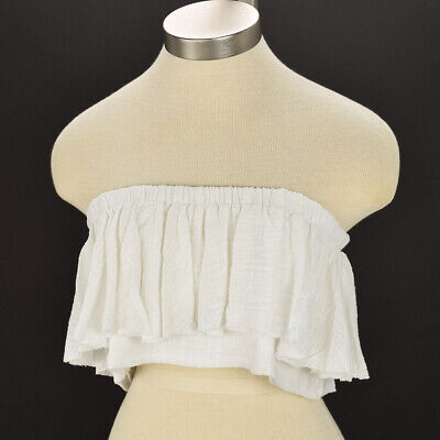 SIR THE LABEL Women White CHESSA Ruffled Cotton Bandeau Strapless Top Size 0 NWT