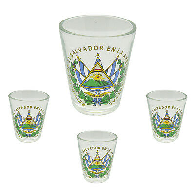 Shot Glasses El Salvador 1 1/2 oz 4 piece