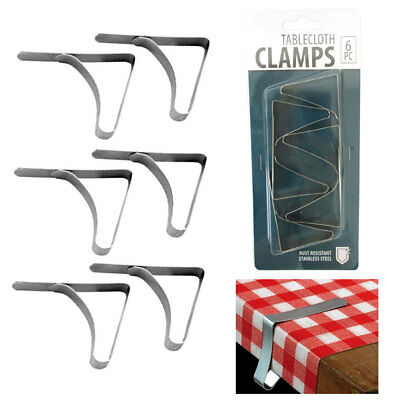 6 Pc Stainless Steel Tablecloth Clamps Cover Clip Holder Table Cloth Picnic New - Picnic Party Supplies