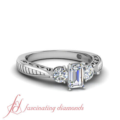 Vintage Style Three Stone Engagement Ring With Emerald Cut Diamond GIA 1.30 Ct