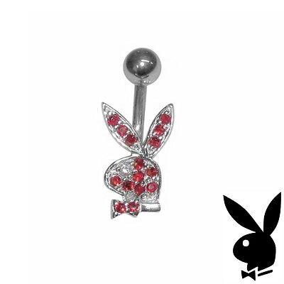 Playboy Belly Button Ring Body Jewelry 1 Sterling Silver Bunny Swarovski Crystal