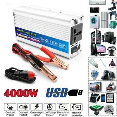 Car Power Inverter 4000W Peak DC 12V To AC 110V Sine Wave USB Converter covid 19 (Dc Peak Power Charger coronavirus)