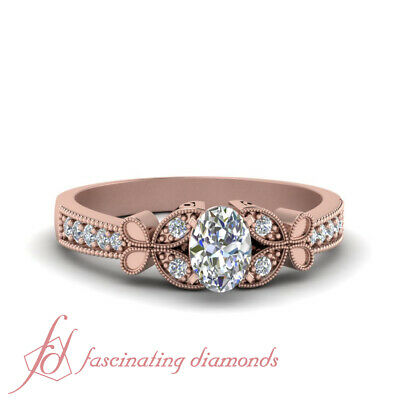 Oval Shaped And Round Diamond Milgrain Pave Engagement Ring For Women 0.85 Ctw