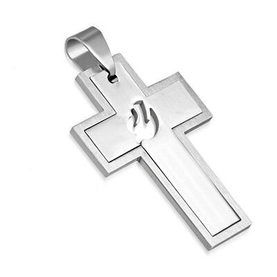 Stainless Steel  Cut Out Dove Cross Necklace Pendant Necklace, 2 Part