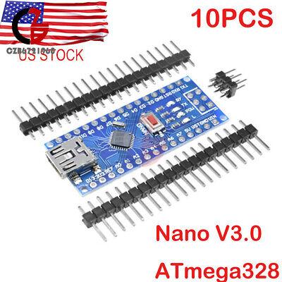 10pcs Mini Usb 5v 16m Nano V3.0 Atmega328 16m Ch340g Board For Arduino