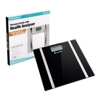 Electronic Digital Body Fat & Hydration Bathroom Glass Scale Blac