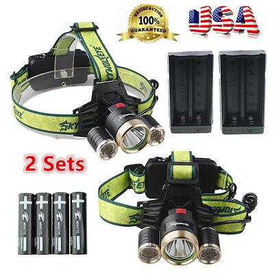 2 Sets 10000LM 3Head XM-L T6 LED Headlamp Headlight Torch FlashLight Lamp Light