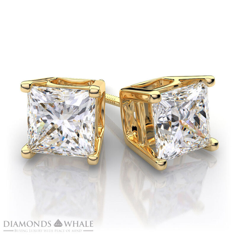 18K Yellow Gold Princess Stud Diamond Earrings 0.9 CT SI2/D Wedding Enhanced