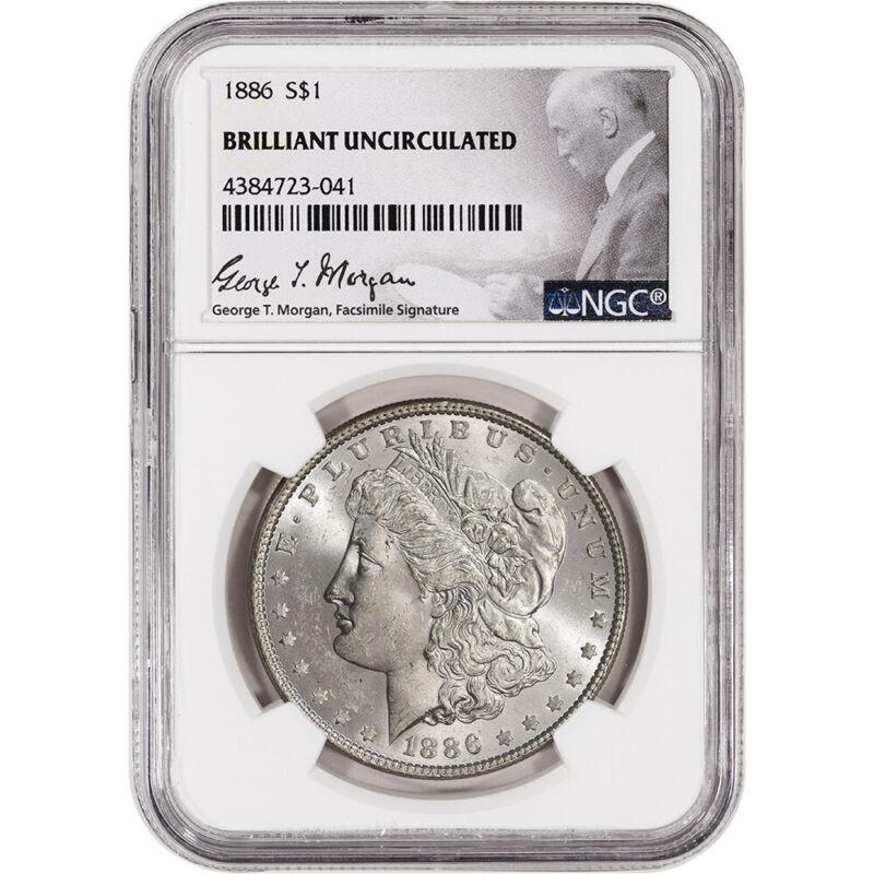 1886 US Morgan Silver Dollar $1 - NGC Brilliant Uncirculated
