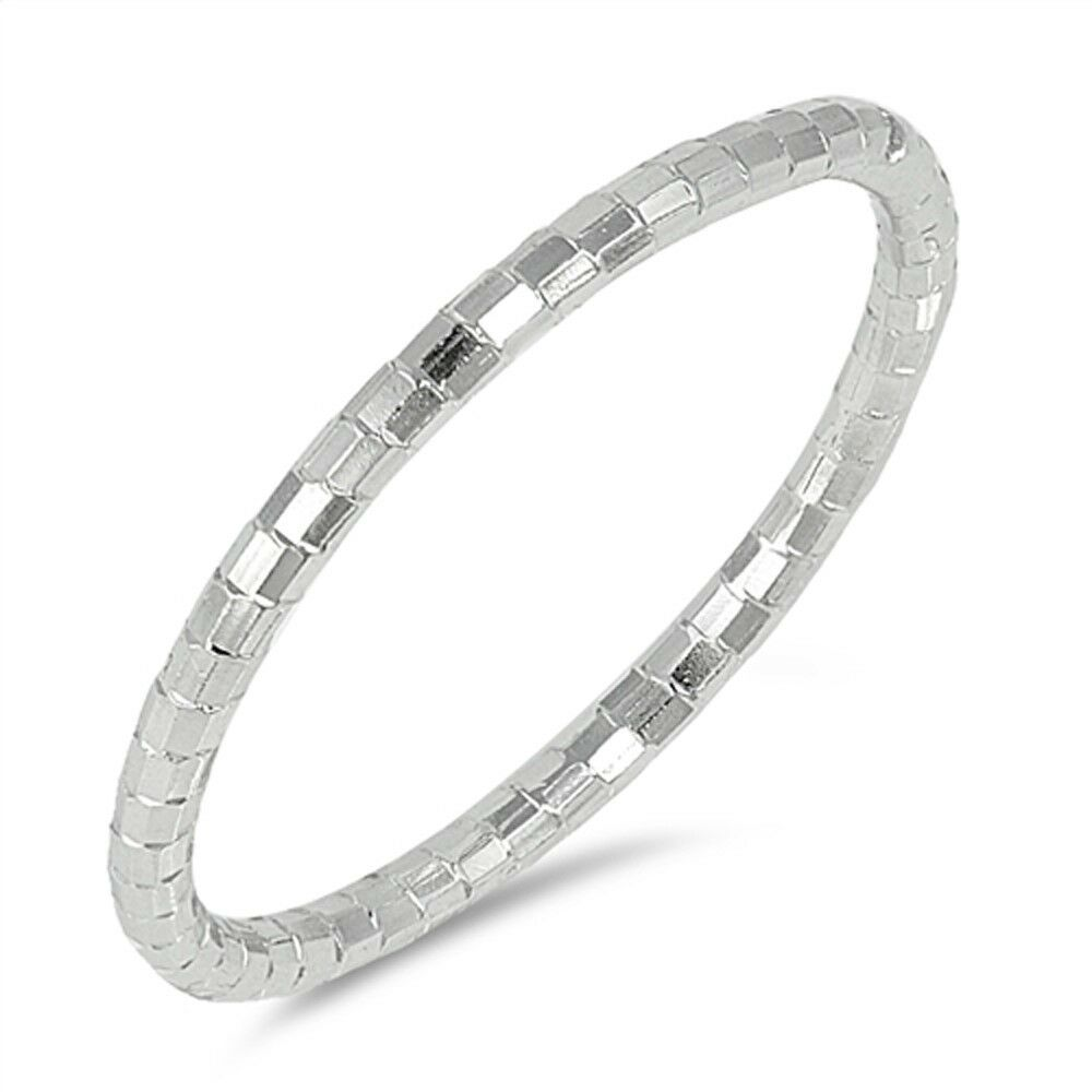 Trendy Stacklable Mirror Finish Diamond Cut .925 Sterling Si