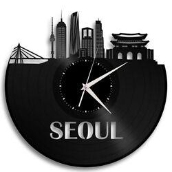 Seoul Vinyl Wall Art Clock Cityscape Unique Gift Home Bedroom Decor Round Record