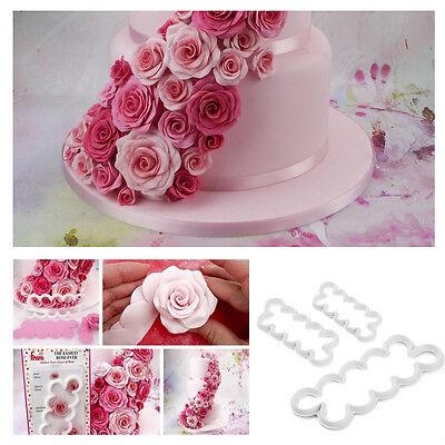 3Pcs 3D Rose Flower Cutter Mold Fondant Cake Mould Baking Decorating Tools
