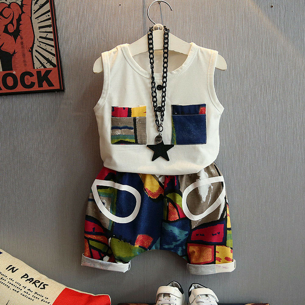 2PC Toddler Kid Baby Boy T-Shirt Tops + Geometry Shorts Pants Outfit Clothes Set