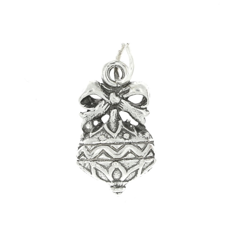 STERLING SILVER DECORATED CHRISTMAS ORNAMENT CHARM OR PENDANT