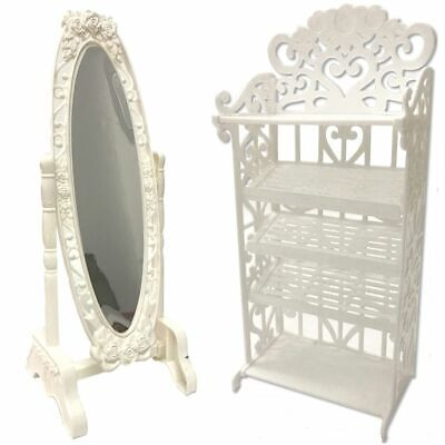 Doll Mirror Shoe Rack Set Play House Accessories For Barbie Dolls 11.5 inch 1/6