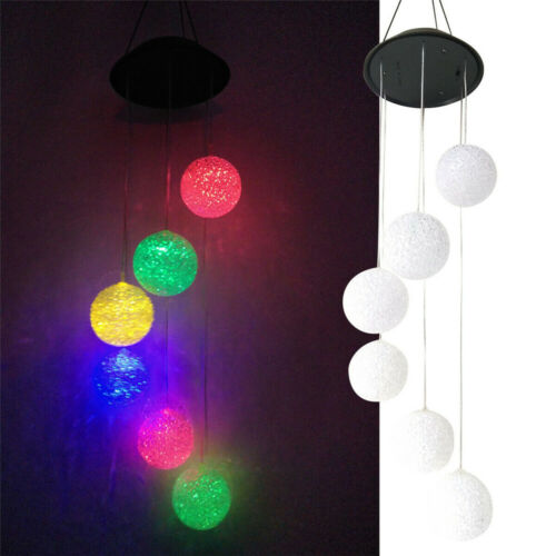 Solar Color Changing LED Ball Wind Chimes Home Garden Yard Decor Light Lamp US Décor