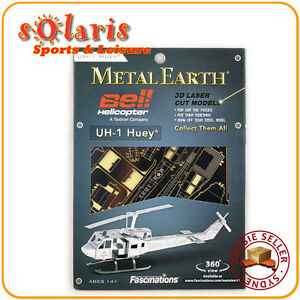 Fascinations-Metal-Earth-UH-1-Huey-3D-Miniature-Steel-Bell-Helicopter-Model