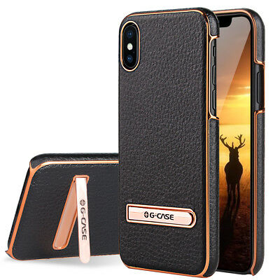For Apple iPhone XS/X/8/7/Plus Leather Hybrid Hard Case Cover Metal Kickstand