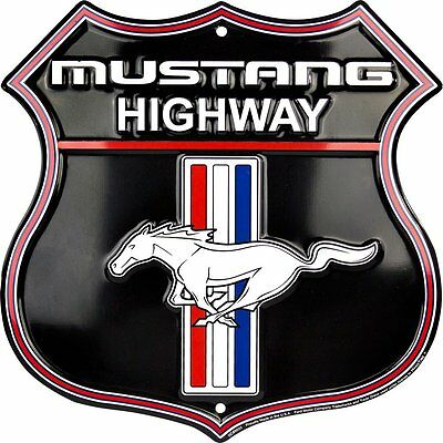 "MUSTANG HIGHWAY 12 X 12"" SHIELD METAL EMBOSSED SIGN FORD PONY LOGO GT GARAGE"