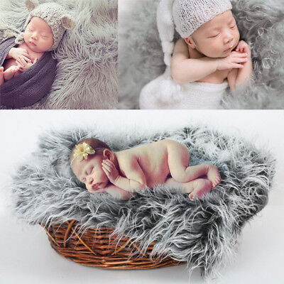 Newborn Baby Photo Props Blanket Soft Fur DIY Photography Backdrop Decor Mat Rug ()