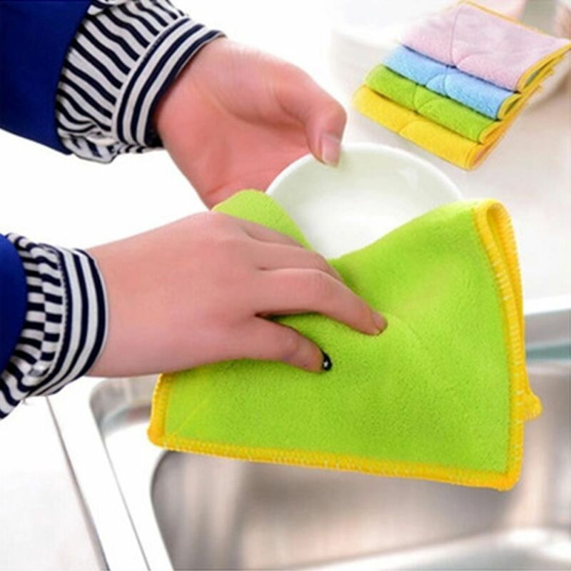 Bamboo Fiber Cleaning Towel Dish Cloth Double Sided Wash Towel Rags Kitchen