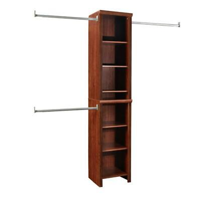 Deluxe Wood Closet Organizer Kit Shelving System 8 Shelves 16 Inch Dark -