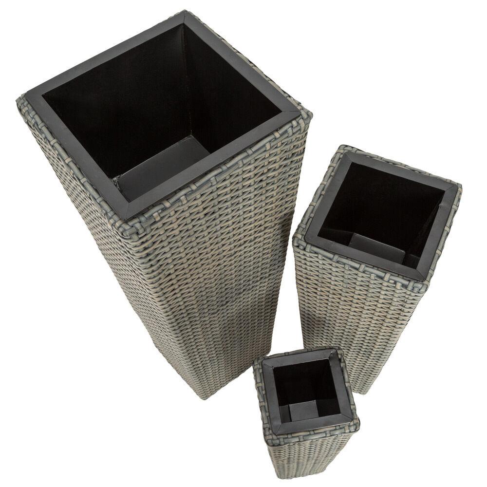 3er set blumentopf blumenk bel pflanzk bel pflanzenk bel poly rattan optik grau eur 39 99. Black Bedroom Furniture Sets. Home Design Ideas