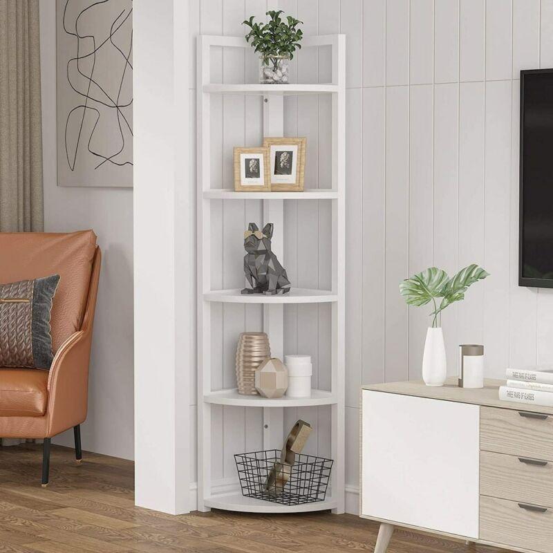5 Tier Display & Storage White Metal Corner Bookcase Shelf Organizer Rack