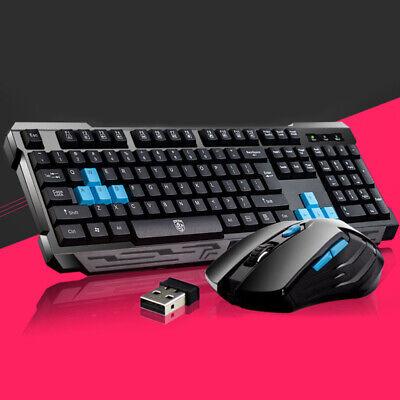 Computer Desktop Wireless Ergonomic Gaming Keyboard and Mouse Mechanical Feel