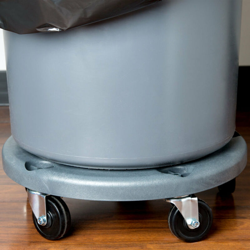 Janitorial Gray Plastic Trash Can Round Dolly with 5 Casters