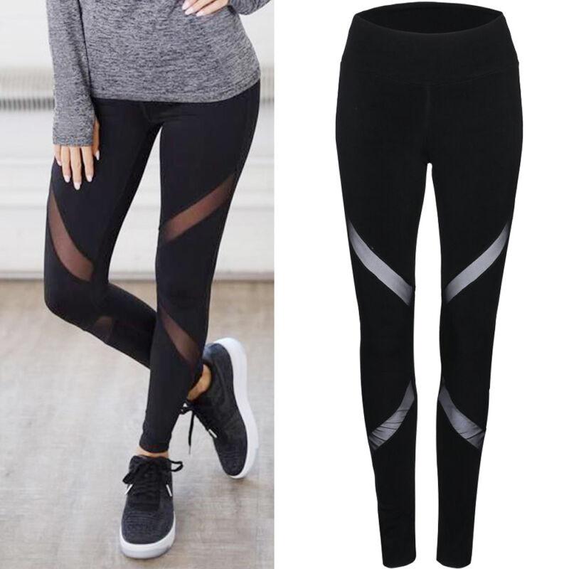 Leggings - Women High Waist Fitness Yoga Mesh Leggings Sport Gym Running Athletic Pants US1