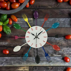 Modern Cutlery Retro Wall Clock Fork Spoon Kitchen Utensil Hanging Decor