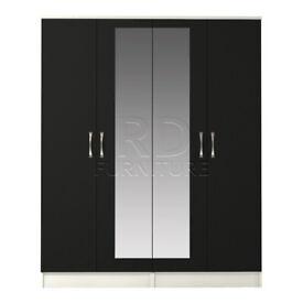 Beatrice 4 door mirrored wardrobe white and black