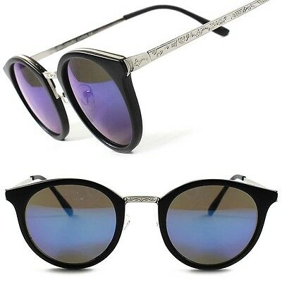 Vintage Retro 90's Urban Fashion Blue Mirrored Lens Mens Womens Round Sunglasses