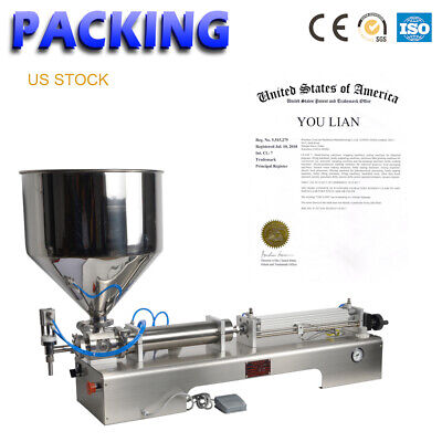 3.38-33.8oz Liquid Paste Filling Machine Piston Oil Sauce 100-1000ml Filler Smc