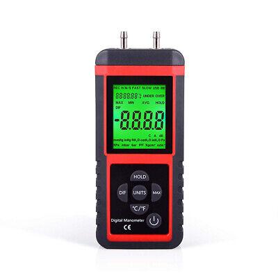 Digital Manometer Differential Pressure Meter Gauge Air Pressure Test 2.999psi