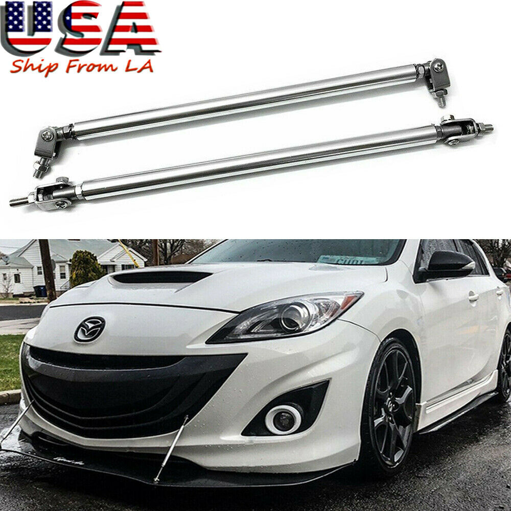 Adjustable Front Bumper Splitter Rods,100MM Stainless Steel Universal Front Rear Bumper Splitter Strut Brace Rod Support Bar-1 Pair Silver