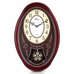 Wooden Chiming Wall Clock Pendulum Cherry Crystal Floral Flower 25 x 17 x 5