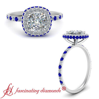 Hidden Halo Cushion Cut Diamond And Sapphire Gemstone Engagement Ring 1.35 Carat