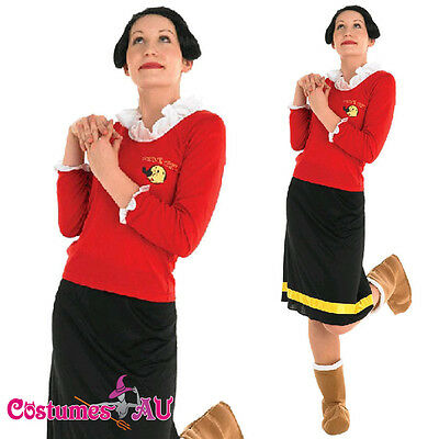 Licensed Women Olive Oyl Popeye Costume Ladies Halloween Fancy Dress + Wig